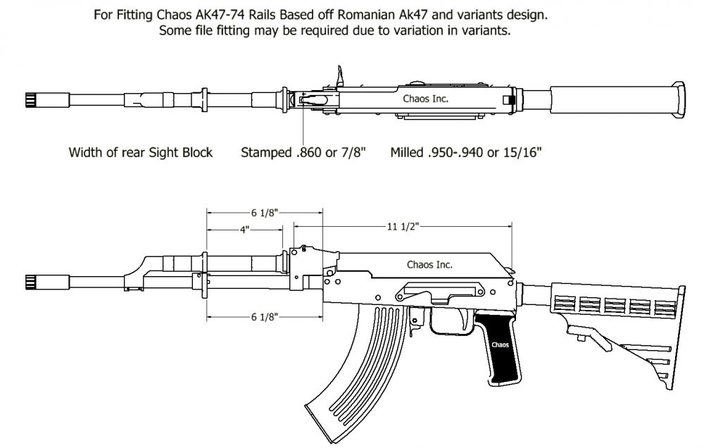 Chaos AK-47 Dust Cover Rail for Milled Receivers (US SHIPPING ONLY)
